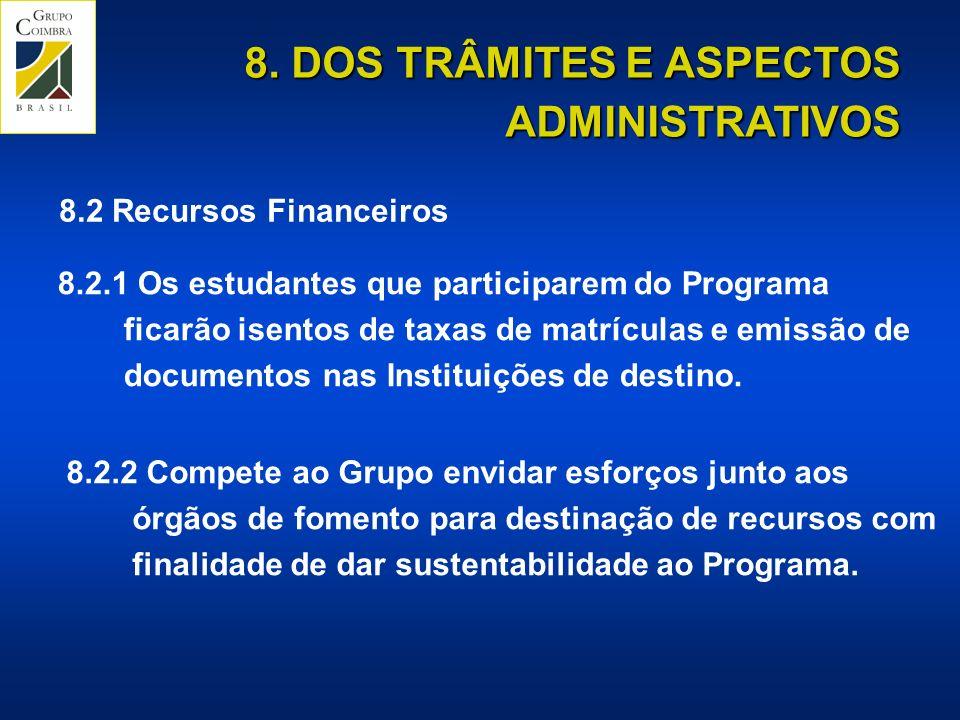 8.2.1 Os estudantes que participarem do Programa ficarão isentos de taxas de matrículas e emissão de documentos nas Instituições de destino.