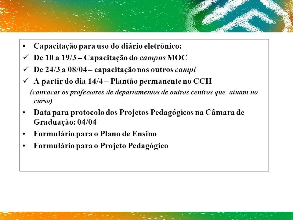 Capacitação para uso do diário eletrônico: De 10 a 19/3 – Capacitação do campus MOC De 24/3 a 08/04 – capacitação nos outros campi A partir do dia 14/