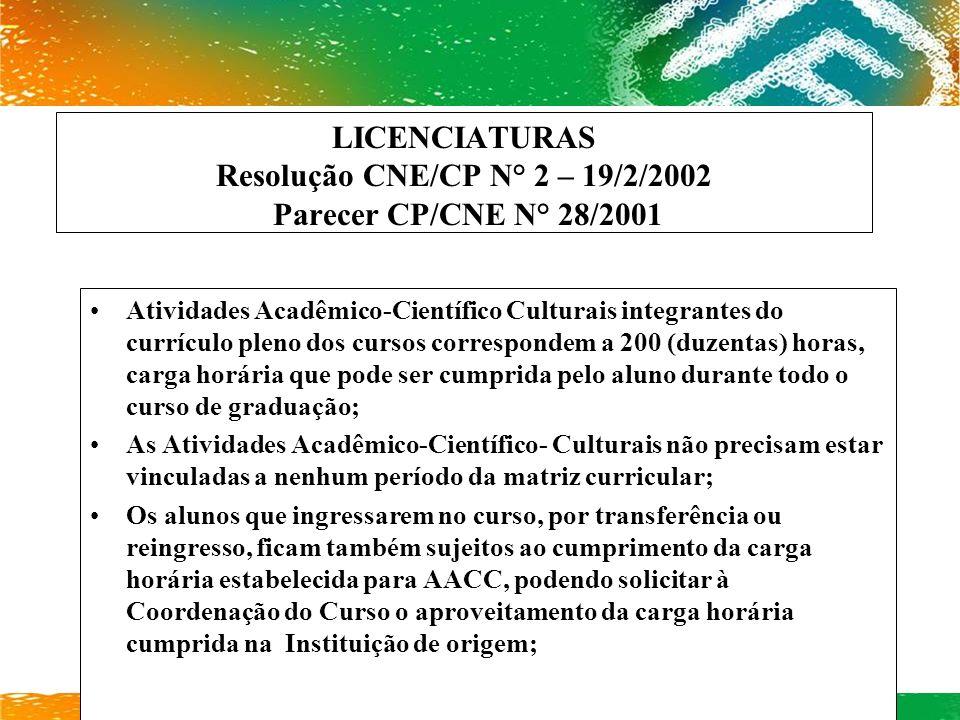 LICENCIATURAS Resolução CNE/CP N° 2 – 19/2/2002 Parecer CP/CNE N° 28/2001 Atividades Acadêmico-Científico Culturais integrantes do currículo pleno dos