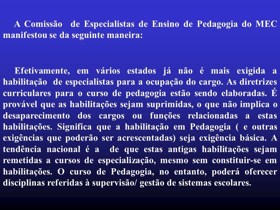 A Comissão de Especialistas de Ensino de Pedagogia do MEC manifestou se da seguinte maneira: Efetivamente, em vários estados já não é mais exigida a h