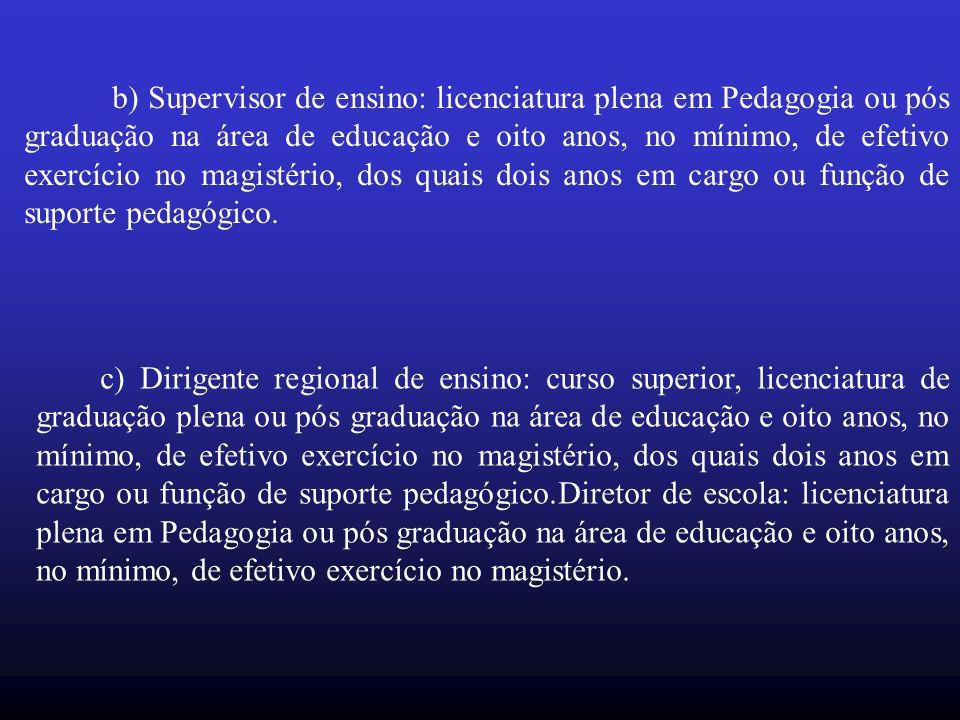 b) Supervisor de ensino: licenciatura plena em Pedagogia ou pós graduação na área de educação e oito anos, no mínimo, de efetivo exercício no magistério, dos quais dois anos em cargo ou função de suporte pedagógico.
