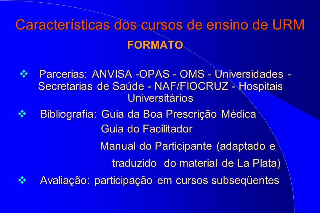Características dos cursos de ensino de URM FORMATO Parcerias: ANVISA -OPAS - OMS - Universidades - Secretarias de Saúde - NAF/FIOCRUZ - Hospitais Uni