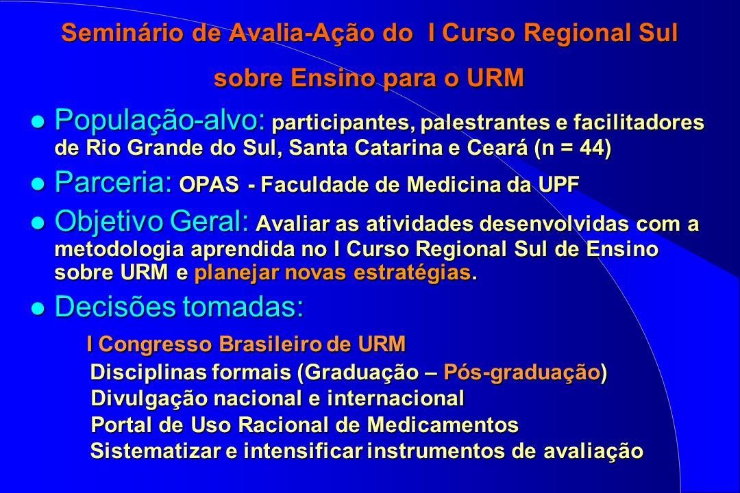 Seminário de Avalia-Ação do I Curso Regional Sul sobre Ensino para o URM l População-alvo: participantes, palestrantes e facilitadores de Rio Grande d