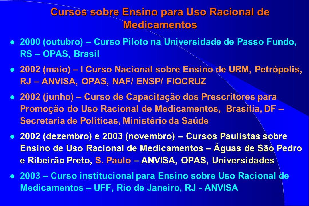 Cursos sobre Ensino para Uso Racional de Medicamentos l 2000 (outubro) – Curso Piloto na Universidade de Passo Fundo, RS – OPAS, Brasil l 2002 (maio)