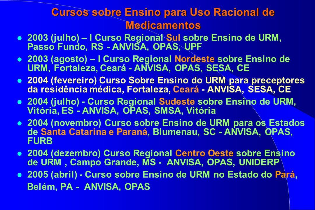 Cursos sobre Ensino para Uso Racional de Medicamentos l 2003 (julho) – I Curso Regional Sul sobre Ensino de URM, Passo Fundo, RS - ANVISA, OPAS, UPF l