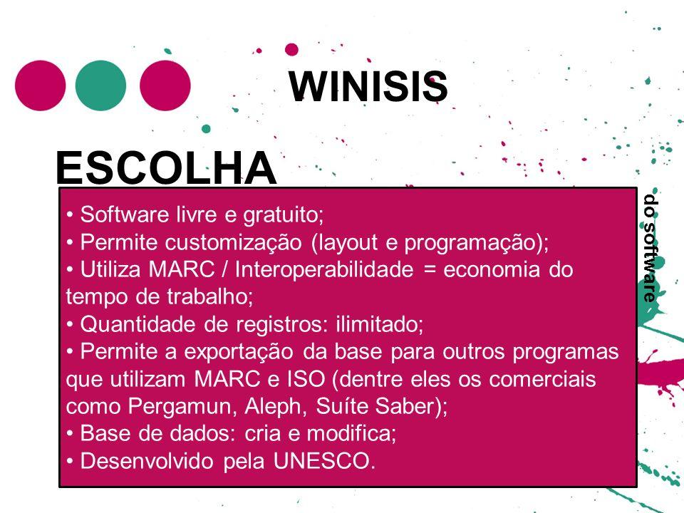 WINISIS ESCOLHA Software livre e gratuito; Permite customização (layout e programação); Utiliza MARC / Interoperabilidade = economia do tempo de traba