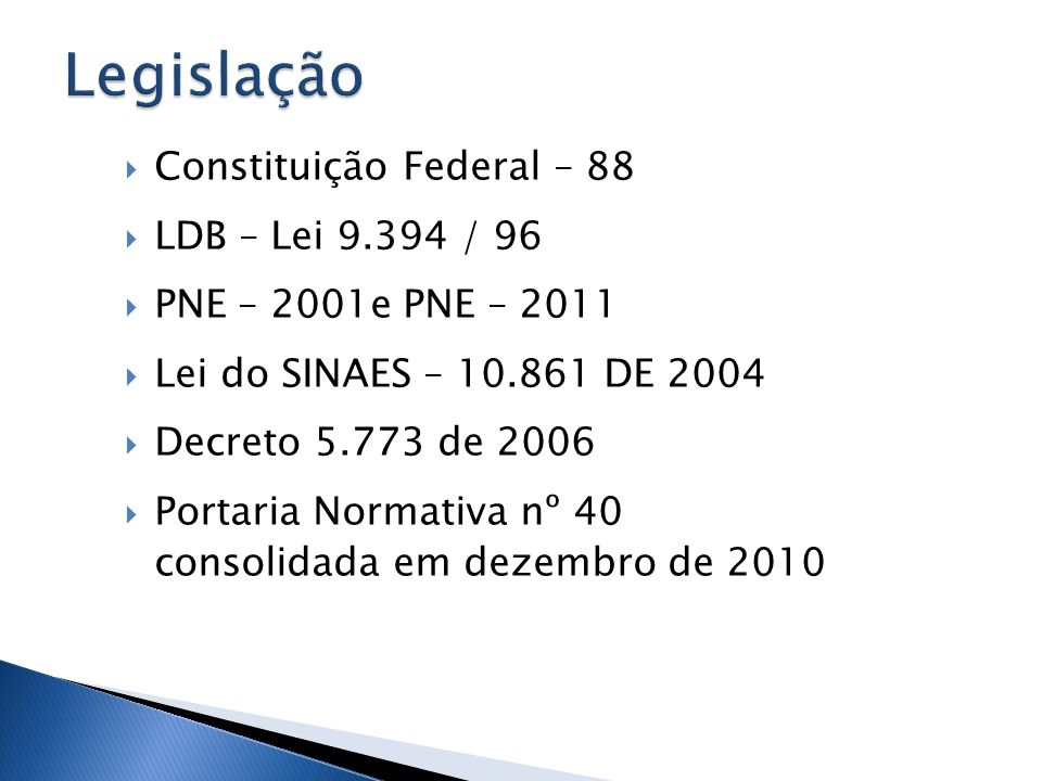 Constituição Federal – 88 LDB – Lei 9.394 / 96 PNE – 2001e PNE – 2011 Lei do SINAES – 10.861 DE 2004 Decreto 5.773 de 2006 Portaria Normativa nº 40 co