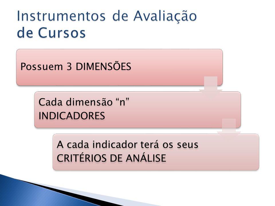 Possuem 3 DIMENSÕES Cada dimensão n INDICADORES A cada indicador terá os seus CRITÉRIOS DE ANÁLISE