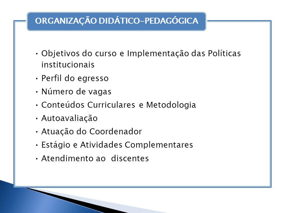 Objetivos do curso e Implementação das Políticas institucionais Perfil do egresso Número de vagas Conteúdos Curriculares e Metodologia Autoavaliação A