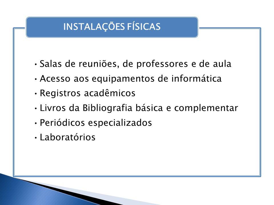 Salas de reuniões, de professores e de aula Acesso aos equipamentos de informática Registros acadêmicos Livros da Bibliografia básica e complementar P