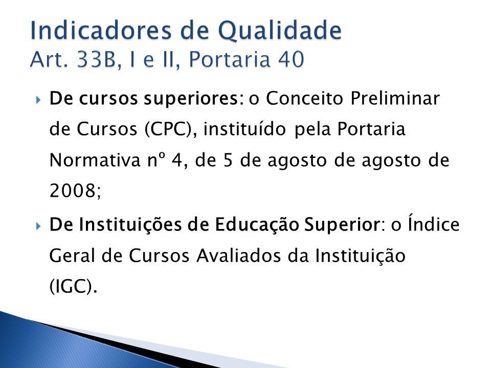 De cursos superiores: o Conceito Preliminar de Cursos (CPC), instituído pela Portaria Normativa nº 4, de 5 de agosto de agosto de 2008; De Instituiçõe