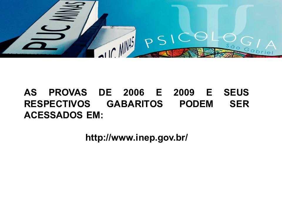 AS PROVAS DE 2006 E 2009 E SEUS RESPECTIVOS GABARITOS PODEM SER ACESSADOS EM: http://www.inep.gov.br/