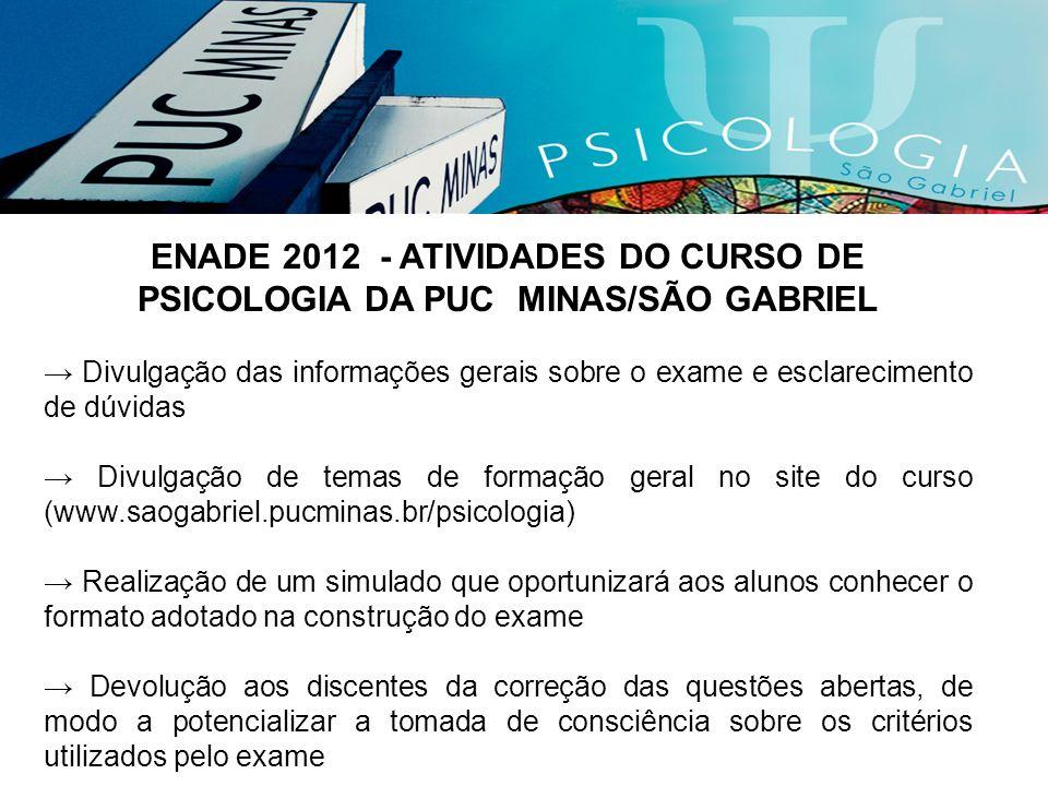 ENADE 2012 - ATIVIDADES DO CURSO DE PSICOLOGIA DA PUC MINAS/SÃO GABRIEL Divulgação das informações gerais sobre o exame e esclarecimento de dúvidas Di