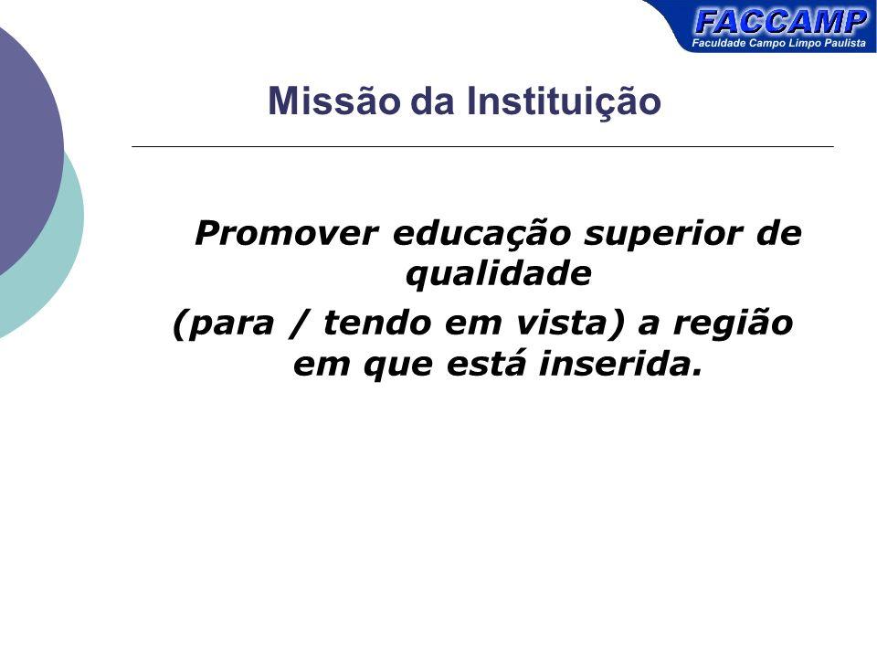 Missão da Instituição Promover educação superior de qualidade (para / tendo em vista) a região em que está inserida.
