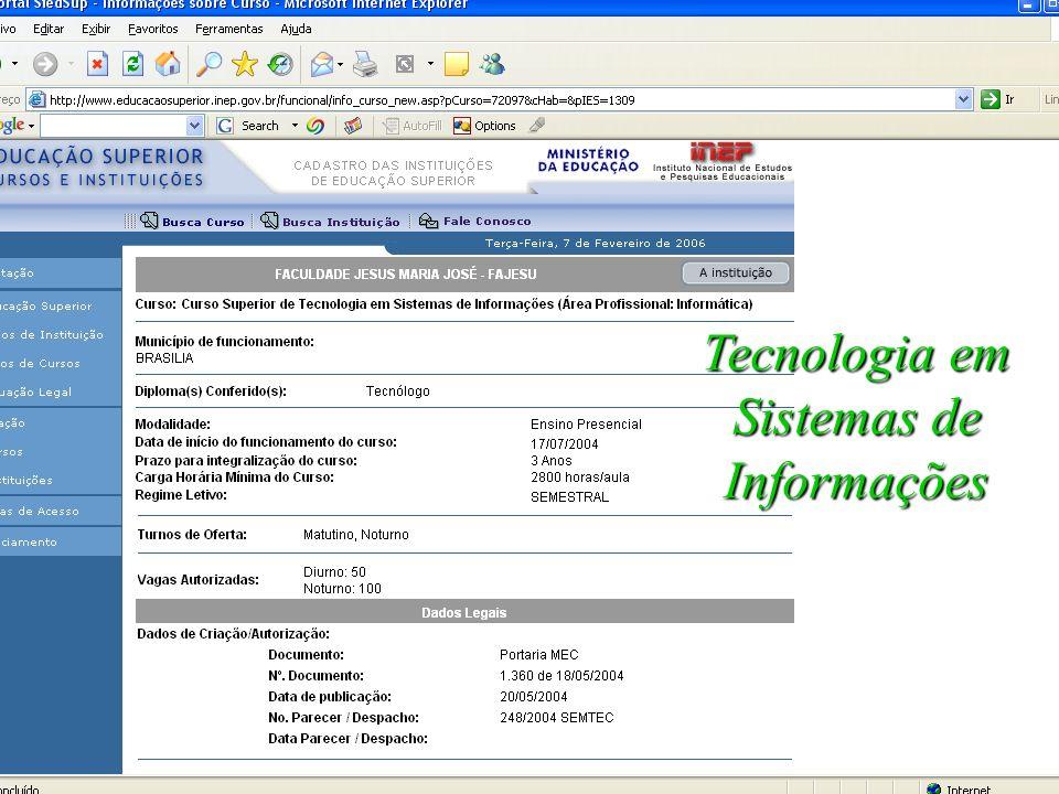 Bibliografia FAJESU.Relatório de autorização do curso de Tecnologia em Redes de Computadores.