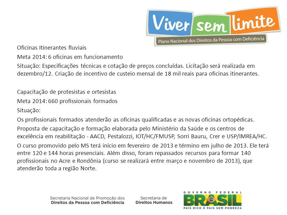 Oficinas Itinerantes fluviais Meta 2014: 6 oficinas em funcionamento Situação: Especificações técnicas e cotação de preços concluídas.