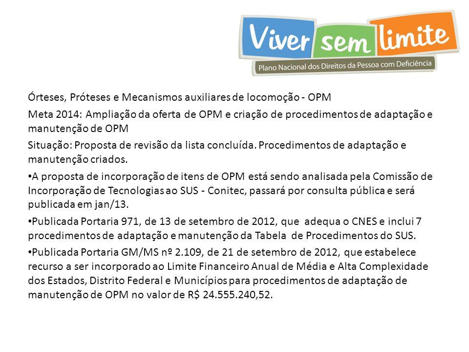 Órteses, Próteses e Mecanismos auxiliares de locomoção - OPM Meta 2014: Ampliação da oferta de OPM e criação de procedimentos de adaptação e manutenção de OPM Situação: Proposta de revisão da lista concluída.