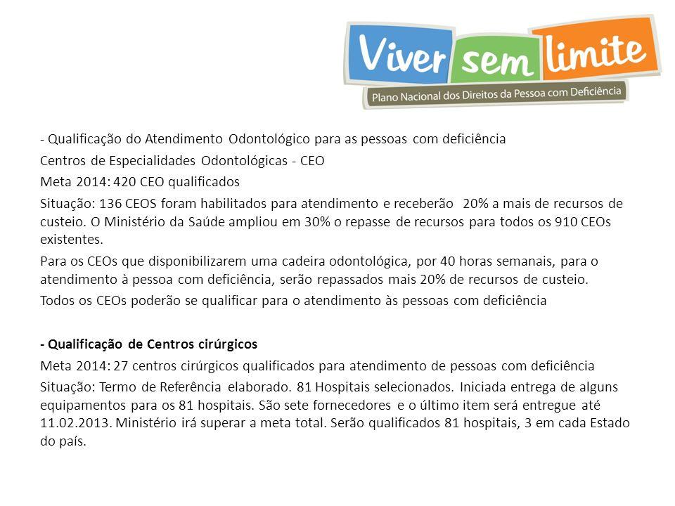- Qualificação do Atendimento Odontológico para as pessoas com deficiência Centros de Especialidades Odontológicas - CEO Meta 2014: 420 CEO qualificad