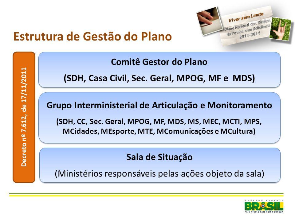 Comitê Gestor do Plano (SDH, Casa Civil, Sec. Geral, MPOG, MF e MDS) Comitê Gestor do Plano (SDH, Casa Civil, Sec. Geral, MPOG, MF e MDS) Estrutura de