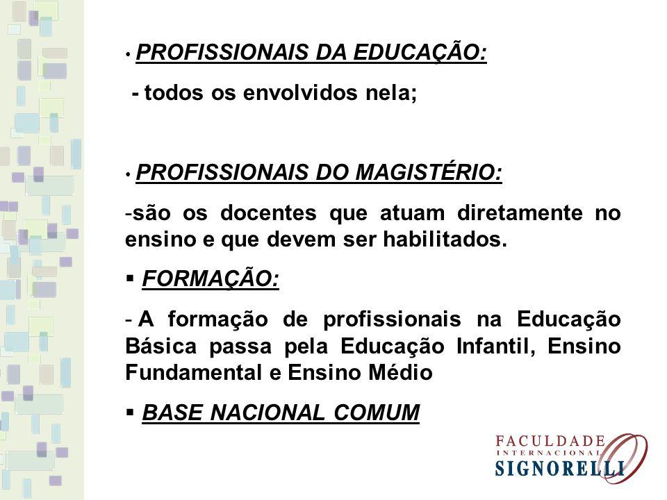 PROFISSIONAIS DA EDUCAÇÃO: - todos os envolvidos nela; PROFISSIONAIS DO MAGISTÉRIO: -são os docentes que atuam diretamente no ensino e que devem ser h