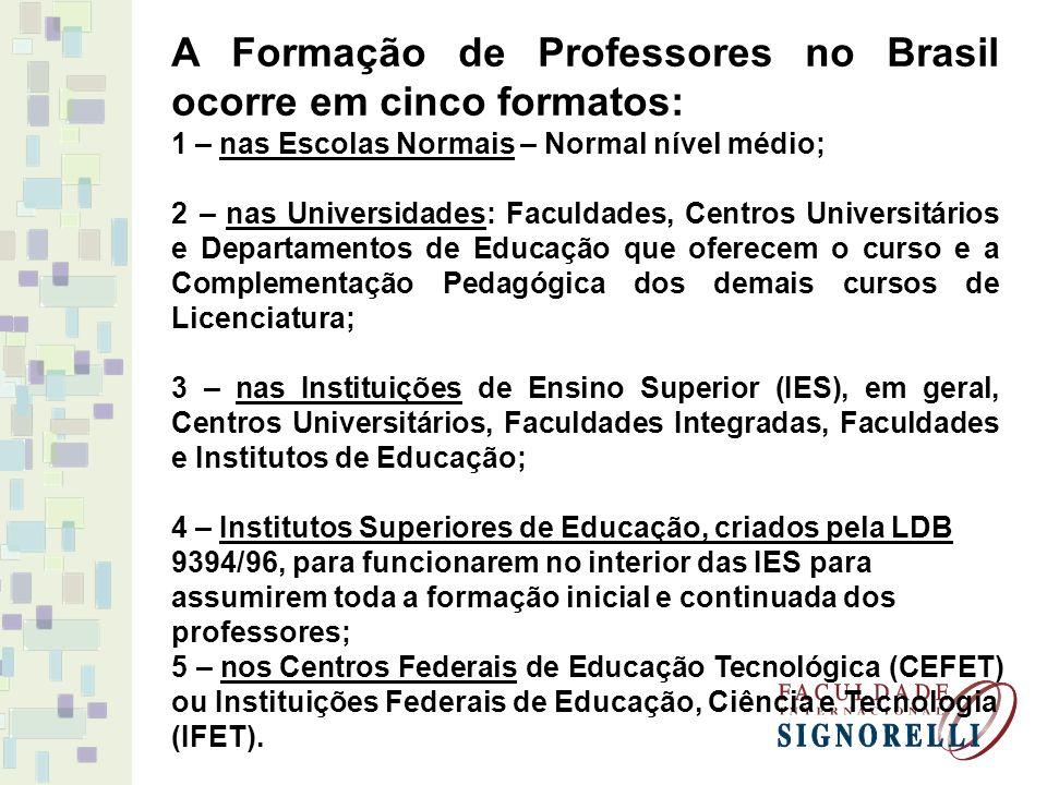 A Formação de Professores no Brasil ocorre em cinco formatos: 1 – nas Escolas Normais – Normal nível médio; 2 – nas Universidades: Faculdades, Centros