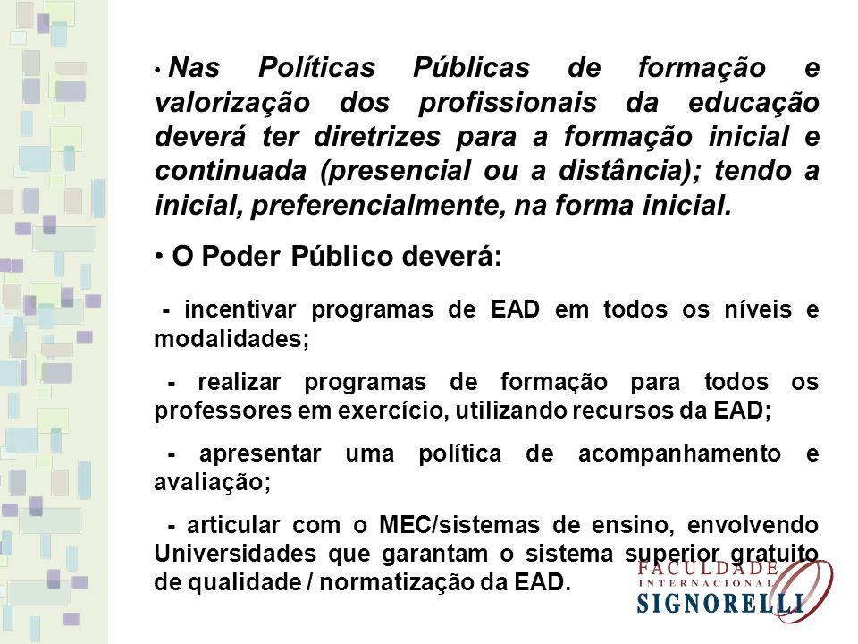 Nas Políticas Públicas de formação e valorização dos profissionais da educação deverá ter diretrizes para a formação inicial e continuada (presencial