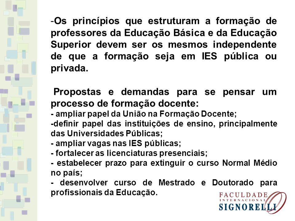 -Os princípios que estruturam a formação de professores da Educação Básica e da Educação Superior devem ser os mesmos independente de que a formação s