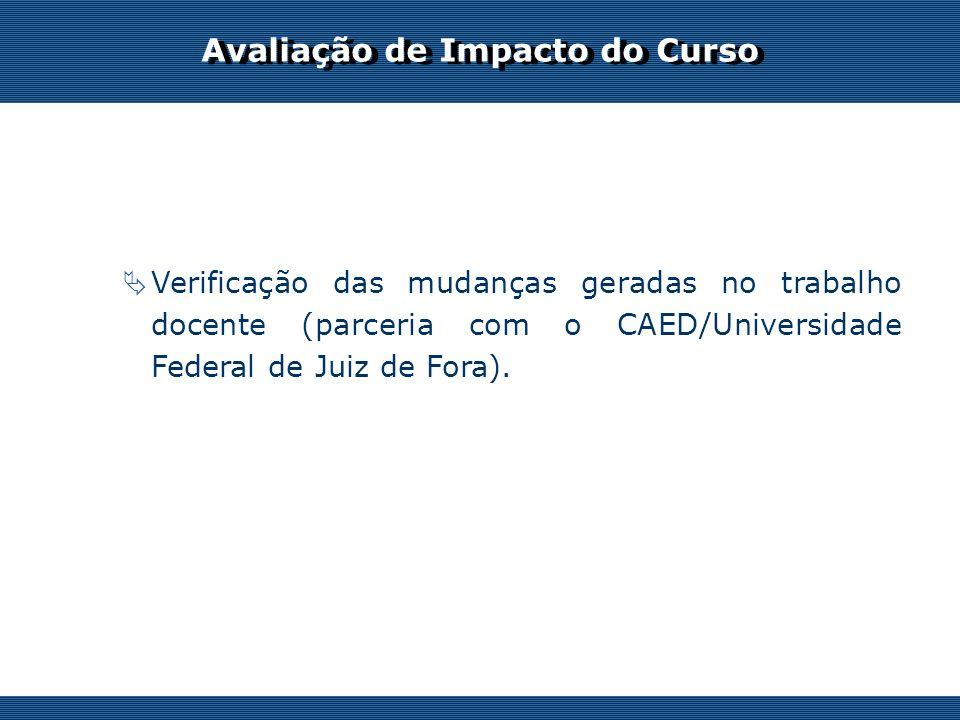 Os desafios do professor on-line Avaliação de Impacto do Curso Verificação das mudanças geradas no trabalho docente (parceria com o CAED/Universidade Federal de Juiz de Fora).
