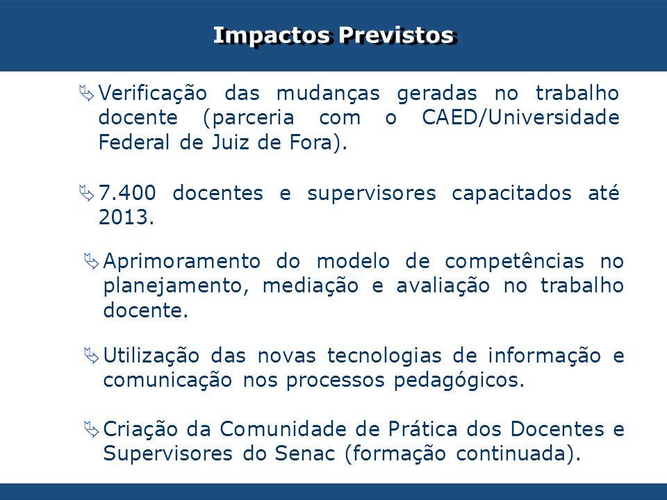 Os desafios do professor on-line Impactos Previstos Verificação das mudanças geradas no trabalho docente (parceria com o CAED/Universidade Federal de Juiz de Fora).