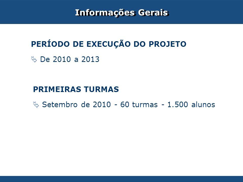 Os desafios do professor on-line PRIMEIRAS TURMAS Setembro de 2010 - 60 turmas - 1.500 alunos PERÍODO DE EXECUÇÃO DO PROJETO De 2010 a 2013 Informações Gerais