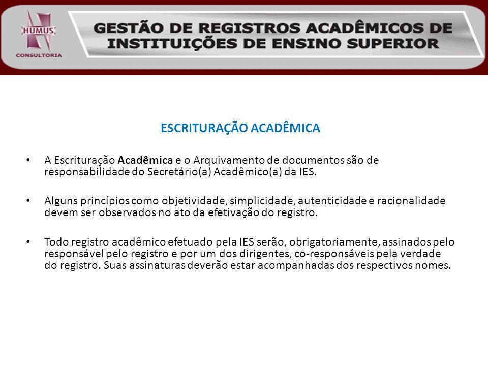 ESCRITURAÇÃO ACADÊMICA A Escrituração Acadêmica e o Arquivamento de documentos são de responsabilidade do Secretário(a) Acadêmico(a) da IES. Alguns pr