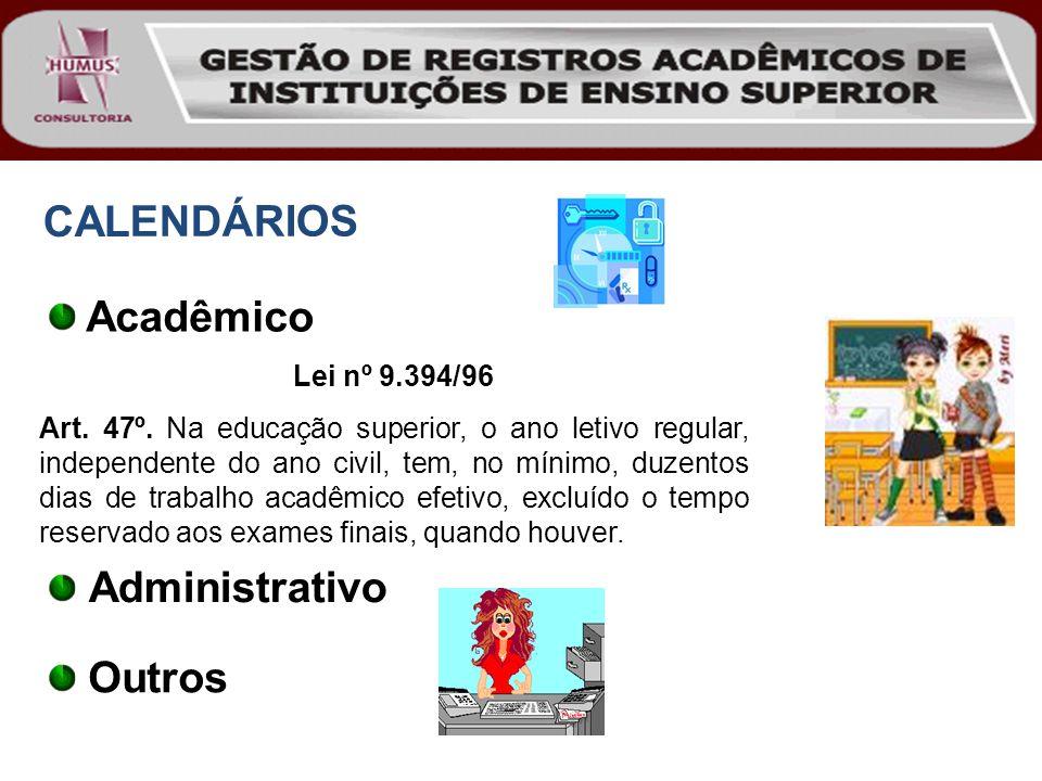 Administrativo CALENDÁRIOS Acadêmico Lei nº 9.394/96 Art. 47º. Na educação superior, o ano letivo regular, independente do ano civil, tem, no mínimo,