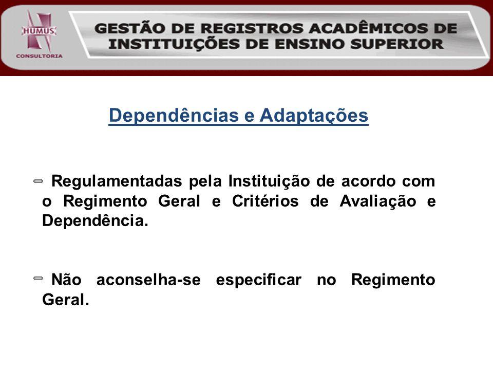 Dependências e Adaptações Regulamentadas pela Instituição de acordo com o Regimento Geral e Critérios de Avaliação e Dependência. Não aconselha-se esp