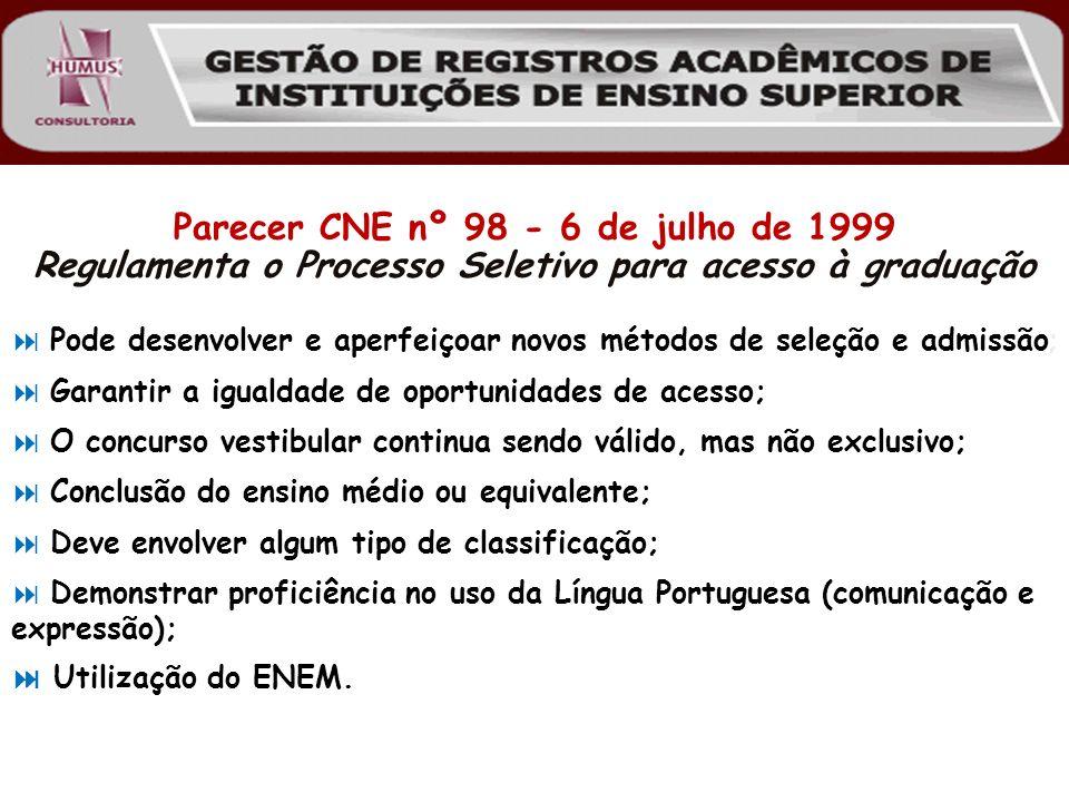 Parecer CNE nº 98 - 6 de julho de 1999 Regulamenta o Processo Seletivo para acesso à graduação Utilização do ENEM. Demonstrar proficiência no uso da L