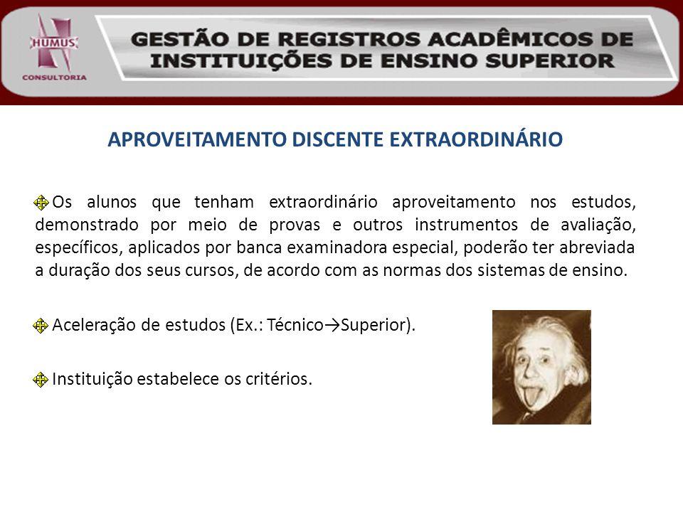 APROVEITAMENTO DISCENTE EXTRAORDINÁRIO Os alunos que tenham extraordinário aproveitamento nos estudos, demonstrado por meio de provas e outros instrum