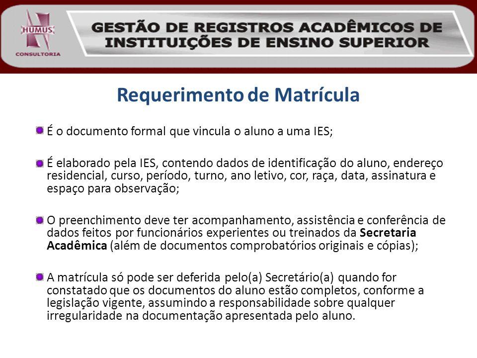 Requerimento de Matrícula É o documento formal que vincula o aluno a uma IES; É elaborado pela IES, contendo dados de identificação do aluno, endereço