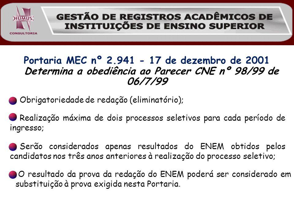 Portaria MEC nº 2.941 - 17 de dezembro de 2001 Determina a obediência ao Parecer CNE nº 98/99 de 06/7/99 O resultado da prova da redação do ENEM poder