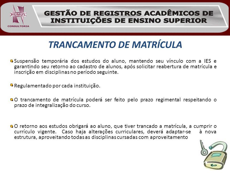 TRANCAMENTO DE MATRÍCULA Suspensão temporária dos estudos do aluno, mantendo seu vínculo com a IES e garantindo seu retorno ao cadastro de alunos, apó