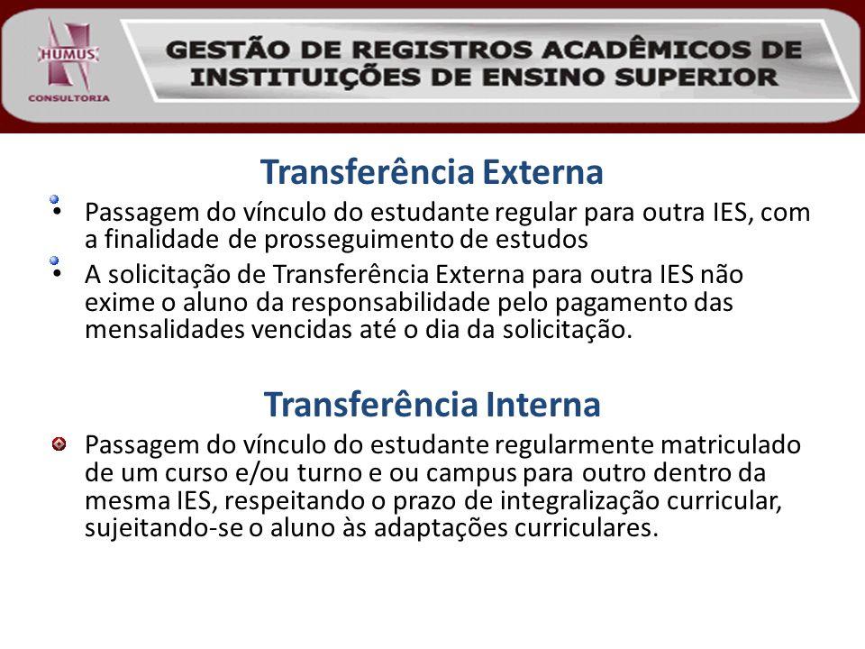 Transferência Externa Passagem do vínculo do estudante regular para outra IES, com a finalidade de prosseguimento de estudos A solicitação de Transfer