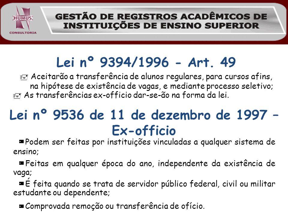 Lei nº 9394/1996 - Art. 49 Aceitarão a transferência de alunos regulares, para cursos afins, na hipótese de existência de vagas, e mediante processo s