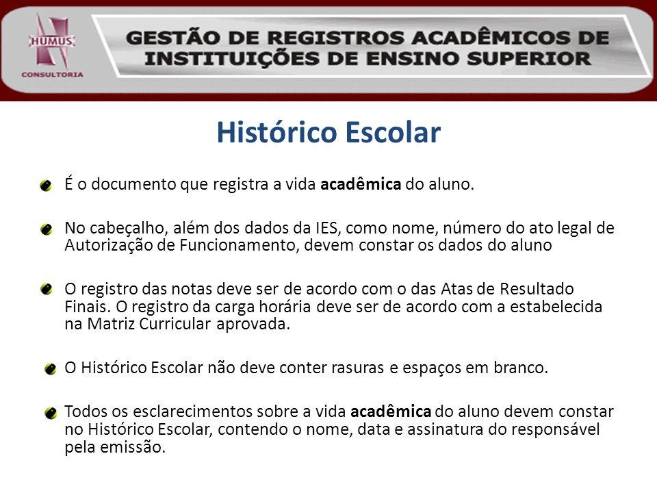 Histórico Escolar É o documento que registra a vida acadêmica do aluno. No cabeçalho, além dos dados da IES, como nome, número do ato legal de Autoriz