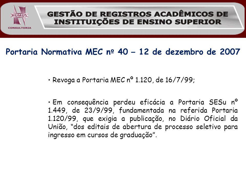 Revoga a Portaria MEC nº 1.120, de 16/7/99; Em consequência perdeu eficácia a Portaria SESu nº 1.449, de 23/9/99, fundamentada na referida Portaria 1.