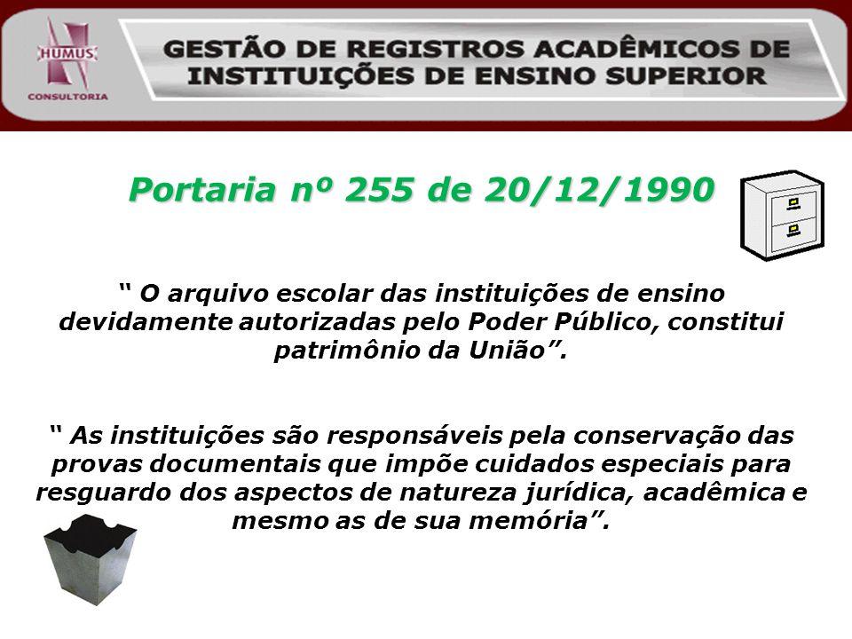 Portaria nº 255 de 20/12/1990 O arquivo escolar das instituições de ensino devidamente autorizadas pelo Poder Público, constitui patrimônio da União.