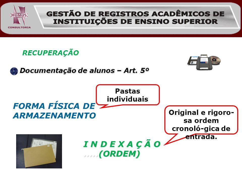 RECUPERAÇÃO Documentação de alunos – Art. 5º Documentação de alunos – Art. 5º I N D E X A Ç Ã O.....(ORDEM) Original e rigoro- sa ordem cronoló-gica d