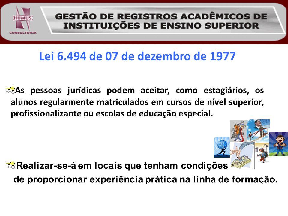 Lei 6.494 de 07 de dezembro de 1977 As pessoas jurídicas podem aceitar, como estagiários, os alunos regularmente matriculados em cursos de nível super