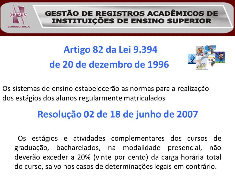 Artigo 82 da Lei 9.394 de 20 de dezembro de 1996 Os sistemas de ensino estabelecerão as normas para a realização dos estágios dos alunos regularmente