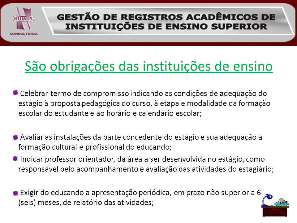 São obrigações das instituições de ensino Celebrar termo de compromisso indicando as condições de adequação do estágio à proposta pedagógica do curso,