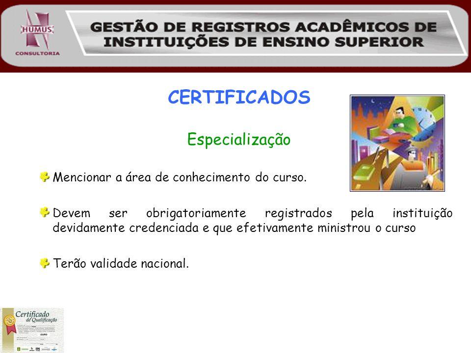 CERTIFICADOS Especialização Mencionar a área de conhecimento do curso. Devem ser obrigatoriamente registrados pela instituição devidamente credenciada