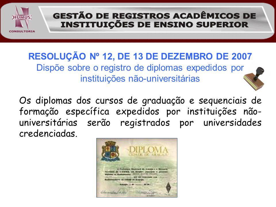 RESOLUÇÃO Nº 12, DE 13 DE DEZEMBRO DE 2007 Dispõe sobre o registro de diplomas expedidos por instituições não-universitárias Os diplomas dos cursos de