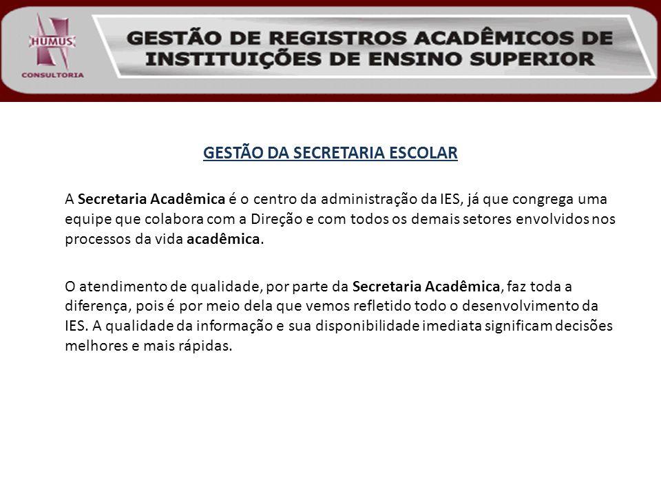 GESTÃO DA SECRETARIA ESCOLAR A Secretaria Acadêmica é o centro da administração da IES, já que congrega uma equipe que colabora com a Direção e com to